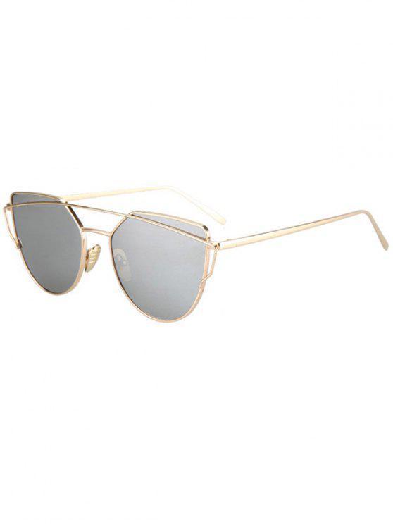 outfits Metal Bar Golden Frame Pilot Sunglasses - SILVER