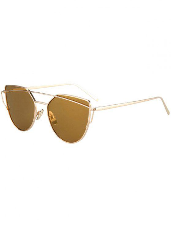 hot Metal Bar Golden Frame Pilot Sunglasses - BROWN