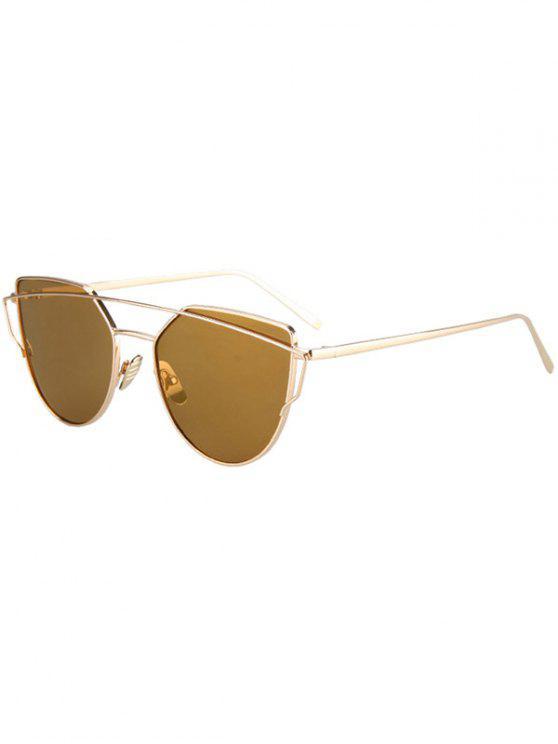 Metal Bar Golden Frame Pilot Gafas de sol - Marrón