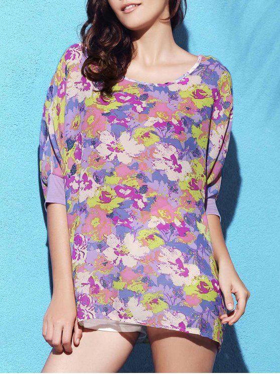 online Scrawl Print Round Collar Batwing Sleeve T-Shirt - PURPLE ONE SIZE(FIT SIZE XS TO M)