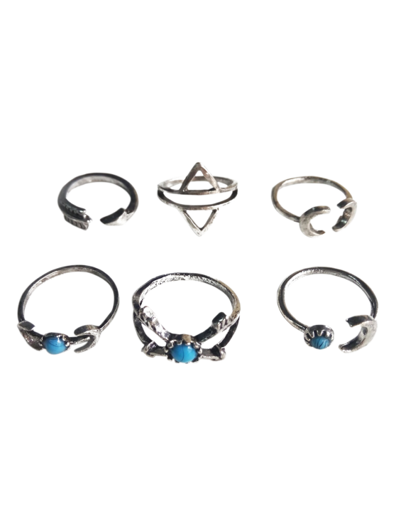 affordable Moon Arrow Ethnic Style Rings - SILVER