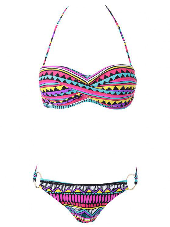 new Geometric Print Color Block Bikini Set - COLORMIX L