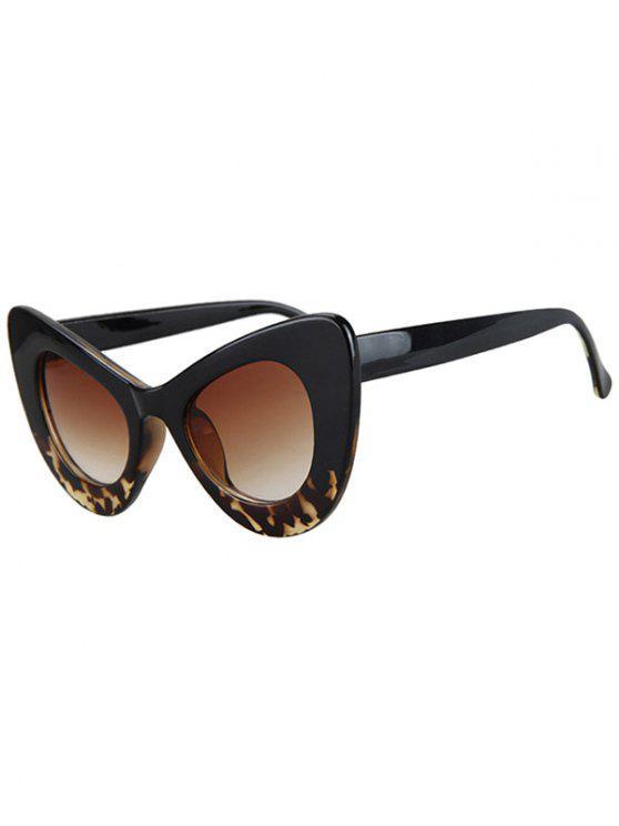 Gafas de sol forma de mariposa de ajuste de leopardo negro - Negro