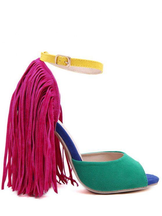 Color Block Peep Toe Sandals Fringe - Verde 35