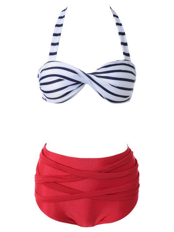 Halter Negro raya blanca Bikini Set - ROJO CON BLANCO L