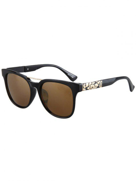 women's Flower Shape Bulge Black Frame Sunglasses - TEA-COLORED