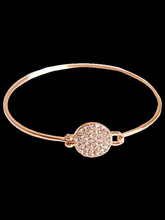 Strass Rodada Bracelet Alloy - Rosa Dourado