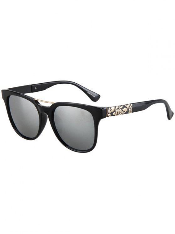 women Flower Shape Bulge Black Frame Sunglasses - SILVER