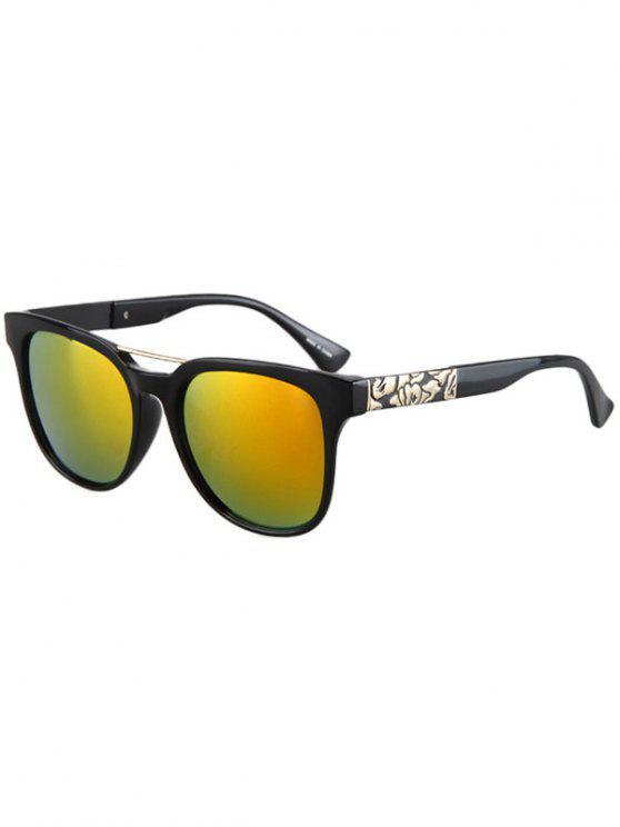 womens Flower Shape Bulge Black Frame Sunglasses - YELLOW