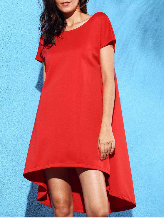new Loose Solid Color High Low Dress - RED S