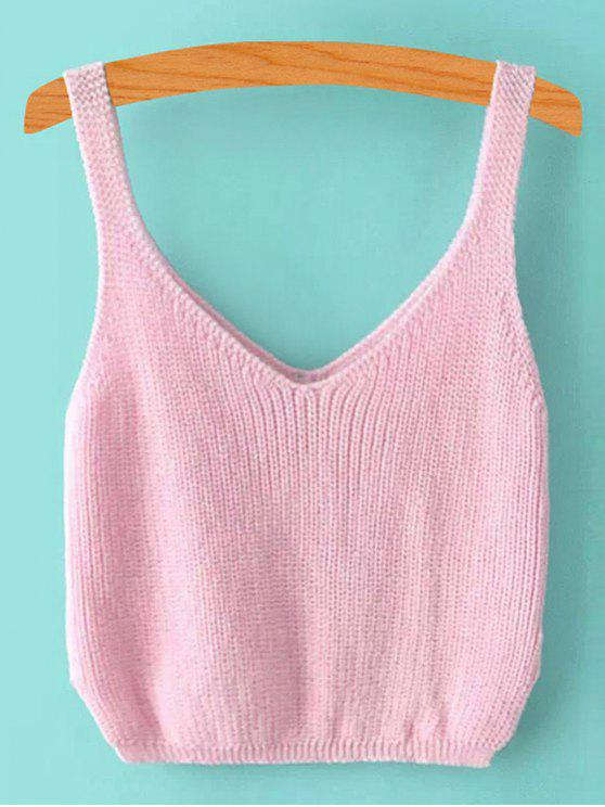 shops Ribbed Sleeveless Knitted Tank Top - PINK ONE SIZE(FIT SIZE XS TO M)