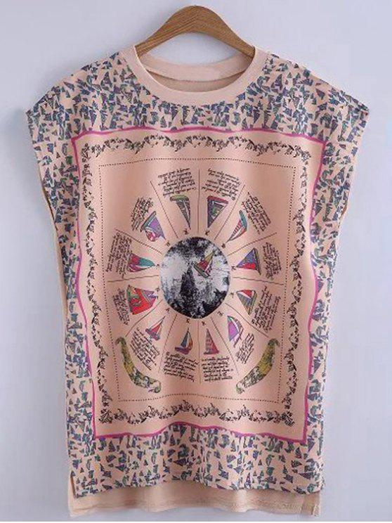 trendy Printed Round Collar High-Low Hem T-Shirt - YELLOWISH PINK M