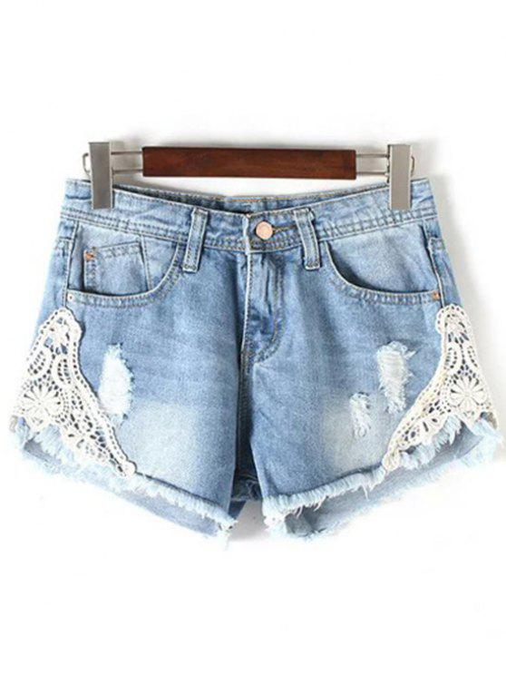 womens Lace Detail Frayed Denim Shorts - LIGHT BLUE M