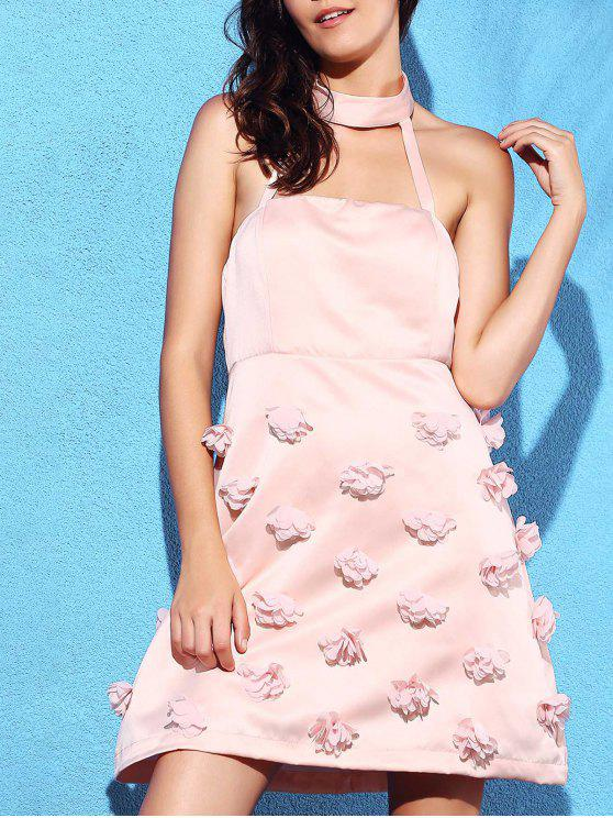 2018 Pink Stereo Flower Halter Semi Formal Dress In Pink 2xl Zaful