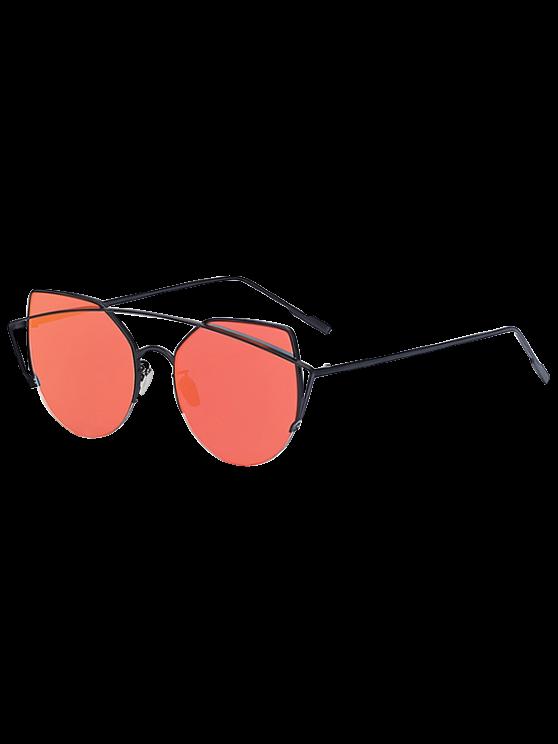 new Black Crossbar Cat Eye Mirrored Sunglasses - RED
