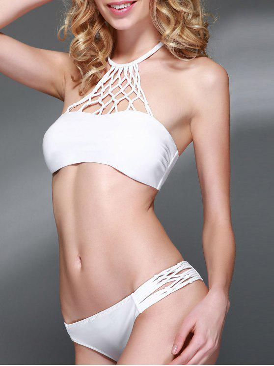affordable Openwork Halter Cut Out Bikini Set - WHITE M
