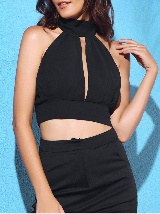 latest Cut Out Tie Back Sleeveless Crop Top - BLACK XL