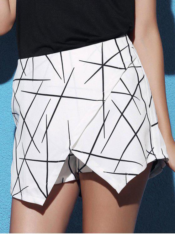 Rayas dobladillo irregular de cintura alta Pantalones cortos - Blanco M