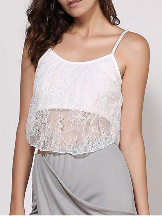 Tirante de espagueti del cordón blanco Camisa corta - Blanco S