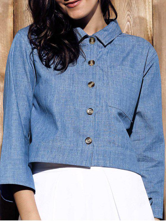 shop Cropped Denim Shirt - BLUE XL