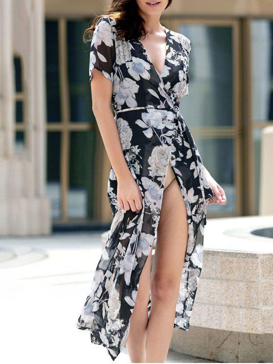 Fleur Imprimer Haut Slit Plongeant Neck robe à manches courtes - Noir XL