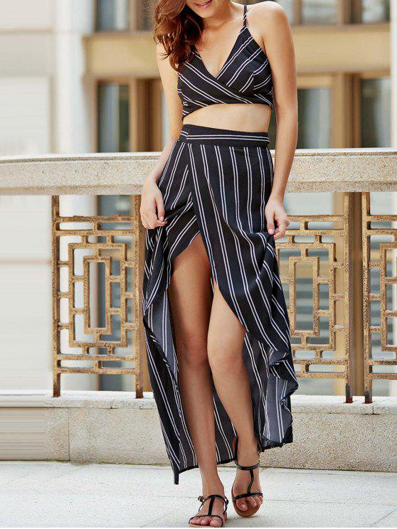 women Striped Spaghetti Straps Backless Crop Top - BLACK XL