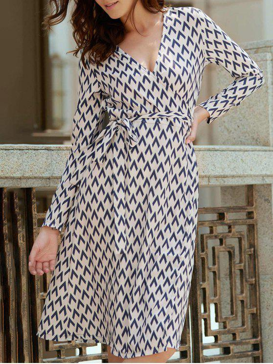 women Long Sleeve Houndstooth Print Wrap Dress - WHITE XL