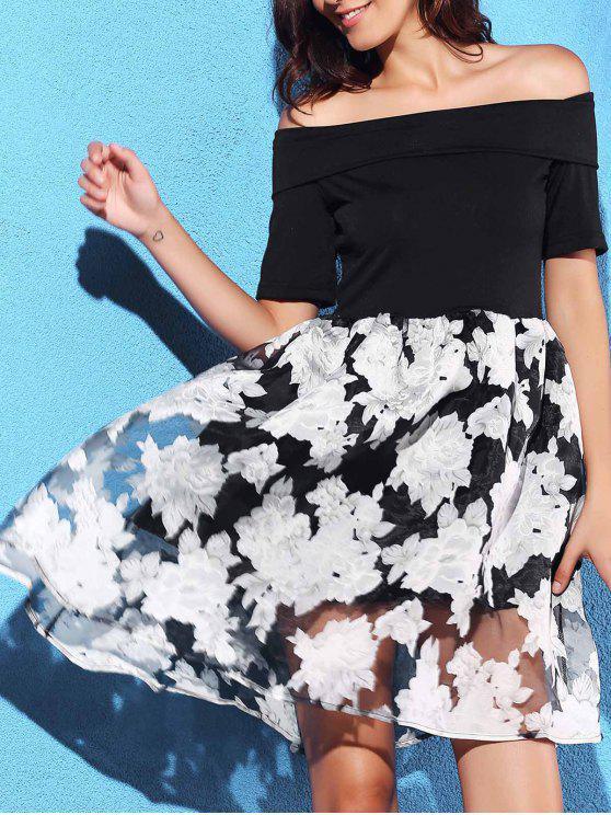 Off-The-Hombro del vestido de bola - Negro M
