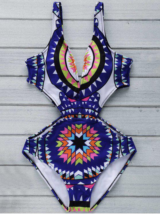 Impresión geométrica Hundiendo cuello fotografica de una sola pieza del traje de baño - Azul Purpúreo L