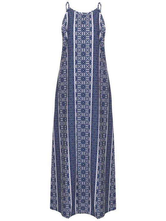 online Spaghetti Strap Sleeveless Print Maxi Dress - BLUE AND WHITE S