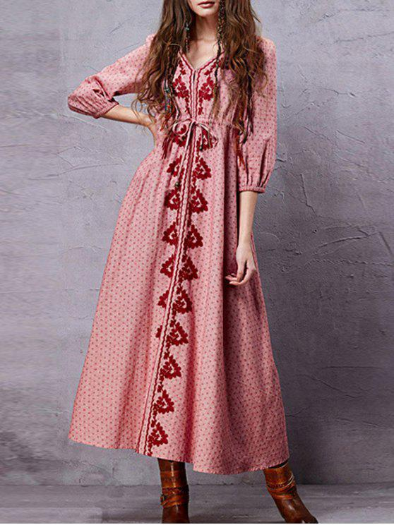 Embroidery V Neck 3/4 Sleeve A Line Dress - Rosa M