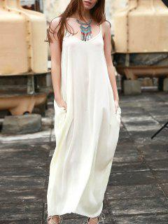 Spaghetti Strap Solid Color Sleeveless Maxi Dress - White S
