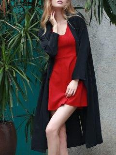 Back Slit Lapel Collar Long Sleeve Long Coat - Black 2xl