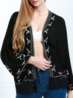 Embroidered Kimono - Black L
