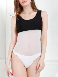 Color Block Hollow One-Piece Swimwear - White And Black S