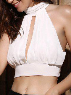 Cut Out Tie Back Sleeveless Crop Top - White M