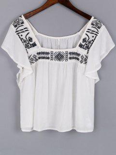 Stickerei-Platz-Ausschnitt Kurzarm Bluse - Weiß L