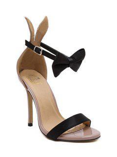 Bow Bunny Ear Stiletto Heel Sandals - Nude 37