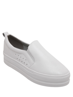 Solid Color Slip-On Platform Shoes - Blanc 38