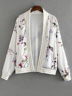 Floral Print Stand Collar Long Sleeve Jacket - White L