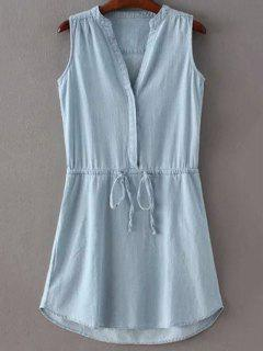 Drawstring Stand Collar Sleeveless Pockets Dress - Ice Blue L