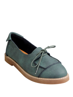 Preppy Lace-Up Flat Shoes - Green 38