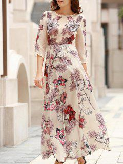 3/4 Sleeve Floral Print Long Dress - Off-white M