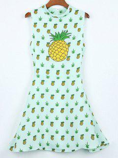 Ananas Imprimer Stand Cou Robe Sans Manches - Vert Clair Xl