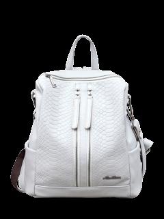 Snake Embossed Multi Zips Backpack - Light Gray