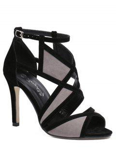 Color Matching Peep Toe Stiletto Heel Sandals - Black 39