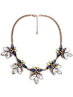 Floral Faux Crystal Necklace - Copper Color