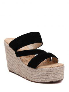 Weaving Platform Wedge Heel Slippers - Black 39