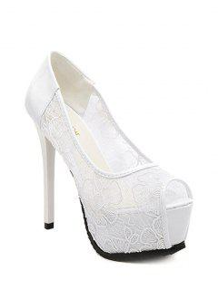 Lace Platform Stiletto Heel Peep Toe Shoes - White 34