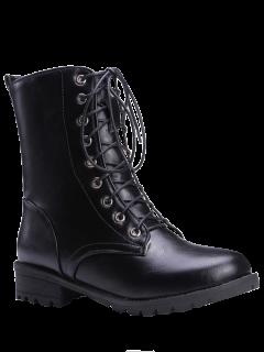 Black Color Lace-Up Combat Boots - Black 37